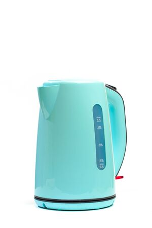 modern green electric kettle, isolated on white background