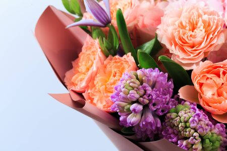 Bouquet of mixed spring flowers  close-up view 版權商用圖片