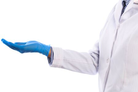 Doctor hand in sterile gloves isolated on white background
