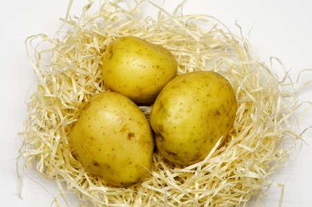 Raw potatoes, food ingredients. Organic foods for a healthy diet. Reklamní fotografie