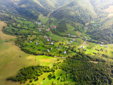 Photo taken from a drone. View of the rural highlands. Sunny summer day. Reklamní fotografie