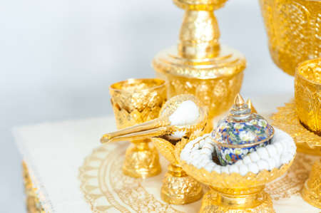 anointed: Thai wedding accessory, conch, wedding ceremony: select focus