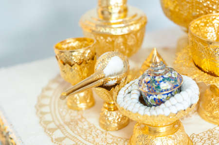 anointed: Thai wedding accessory, conch, wedding ceremony : select focus