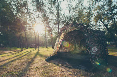 roughing: Camping and tent ,Vintage style.