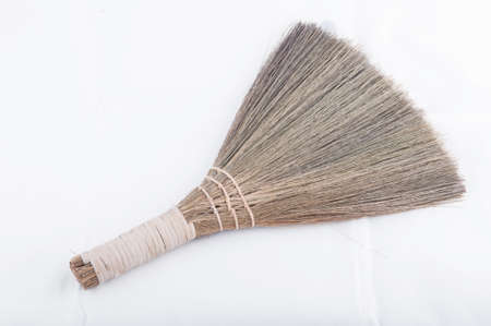 lint: Broom isolated on white background Stock Photo