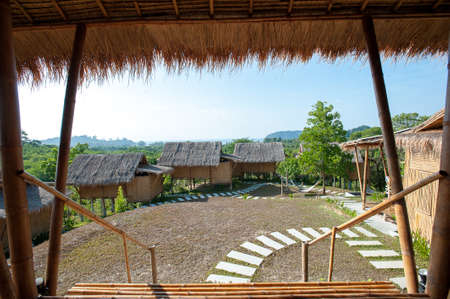 architecture bungalow: Phu-Re Hut Resort ; Bamboo bungalows in resort area of koh Phayam Thailand