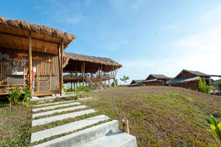 architecture bungalow: Phu-Re Hut Resort ; Bamboo bungalows in resort area of koh Phayam Thailand