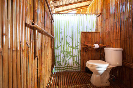 vessel sink: bathroom bamboo with masonry shower cubicle and bathtub
