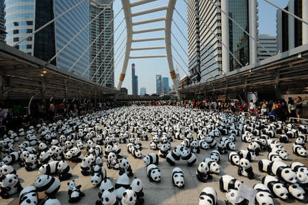 wwf: Bangkok, Thailand - March 8, 2016 : 1600 paper Mache Pandas campaign showcase in Bangkok by WWF to promote environmental preservation. Editorial
