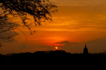 sight seeing: sunrise at Bagan pagoda Myanmar