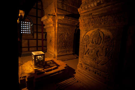 BAGAN, MYANMAR - MAY 4 ,2013 -  Buddha carving in Temple, Bagan, Myanmar
