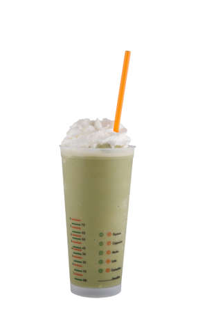 green bean: green tea frappe  isolated on white background
