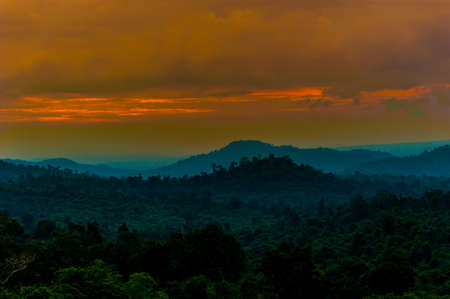 Landscape with mountains covered forests,Thailand