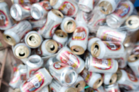crushed aluminum cans: Blur trash cans of beer Stock Photo