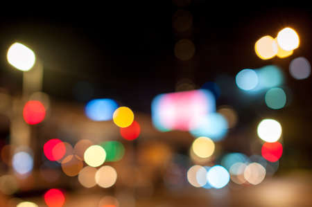 Bokeh lighting ,image of inside cars with bokeh lights from traffic jam on night time. view from inside a car Stock Photo