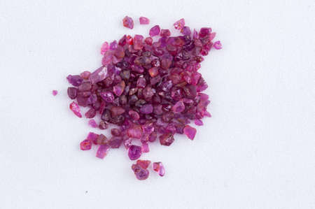 pink sapphire crystal on white background