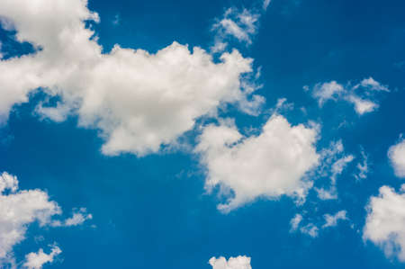 blue sky with clouds closeup landscape Stock Photo