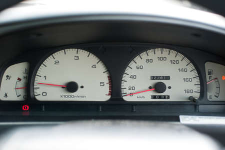 night shift: Car instrument panel,Speedometer and other gauges in the car