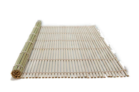green bamboo place mat isolated on white background Banco de Imagens