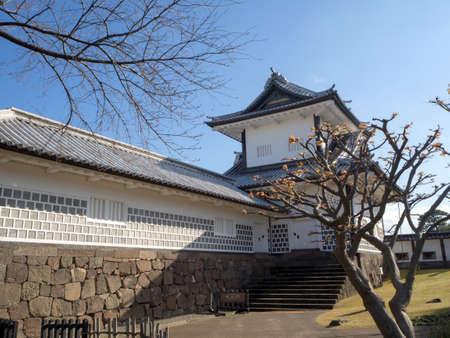 The main tower (Tenshu) of Nagoya Castle over blue sky Banco de Imagens
