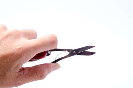 temperino: Multi-utensile rosso-coltello, isolato su priorità bassa bianca
