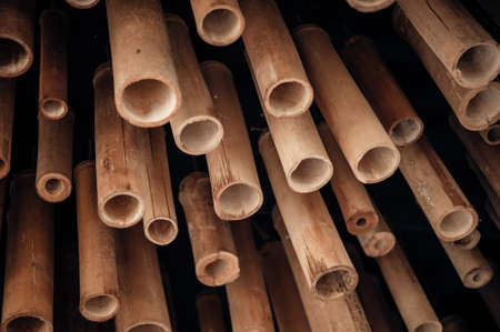A pile of cut wood for construction,bamboo stem for scaffold