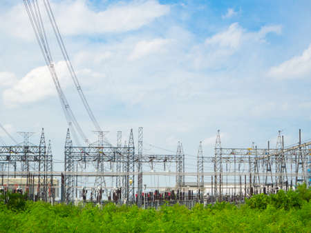 electric grid: high voltage power plant and transformation station ,Thailand