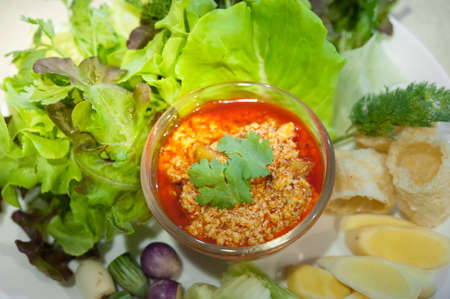 Northern Thai Tofu and Tomato Spicy Dip Selective focus (Thai name is Nam prik ong)  Thailand Food of  Vegetarian , No meat-Made from tofu (soy)