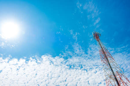 Telecommunication mast with blue sky,Cell tower and radio antenna