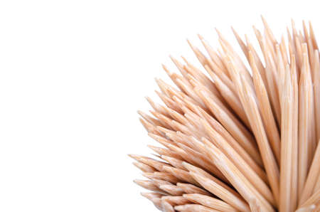 Wooden Toothpicks Close Up Background - isolated on white background with clipping path