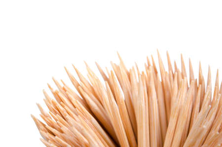 Wooden Toothpicks Close Up Background - isolated on white background