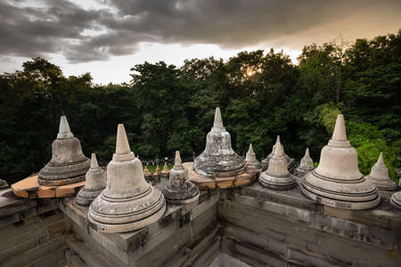 Buddhist Temple : Sandstone Pagoda in Pa Kung Temple at Roi Et of Thailand Imagens