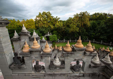 Buddhist Temple : Sandstone Pagoda in Pa Kung Temple at Roi Et of Thailand Banco de Imagens