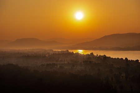 Sunrise on the Pha Taem National Park , Khong Chiam, Ubon Ratchathani,Thailand