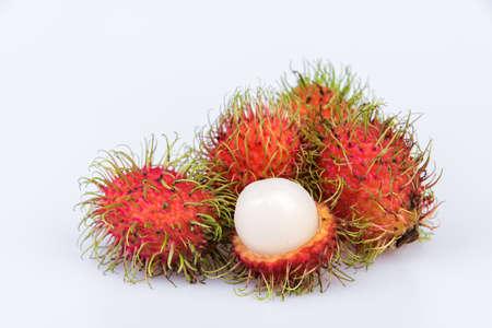 Fresh rambutan sweet delicious fruit on white background Stock Photo