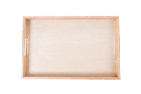 Wooden tray on white background with clipping path