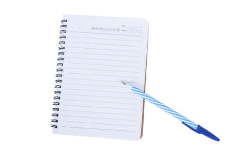 notebook and pen isolated on a white background Banco de Imagens