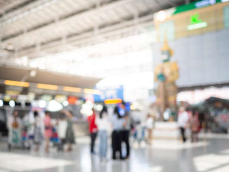 Abstract Blur Background : Airport Check-In Counters With Passengers