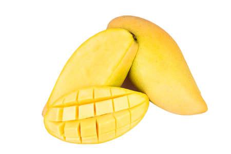 Delicious ripe mango fruit , mango on white background. Banco de Imagens
