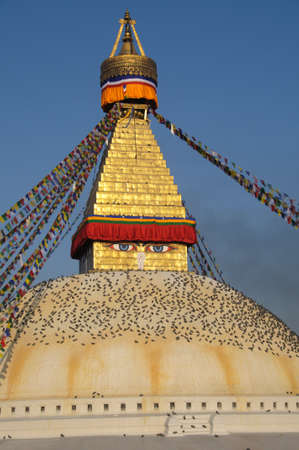 The Buddhist stupa of great Boudhnath in Kathmandu valley, Kathmandu, Nepal photo