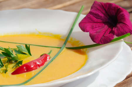 pumpkin soup: Pumpkin soup with ginger and coconut milk. Stock Photo