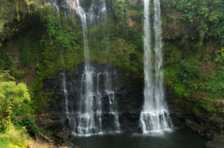 lao: Waterfall on the Bolaven Plateau in Lao. Stock Photo