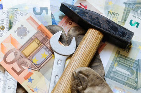 Tools with EURO banknotes photo