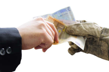 Businessman paid workers with EURO banknotes. photo