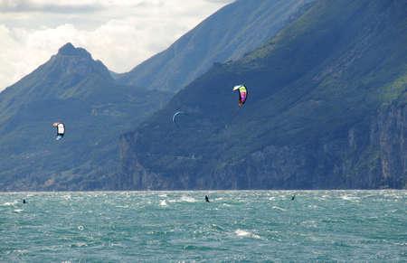 water sports: Water sports, kite-boarding on the lake garda north Italy.