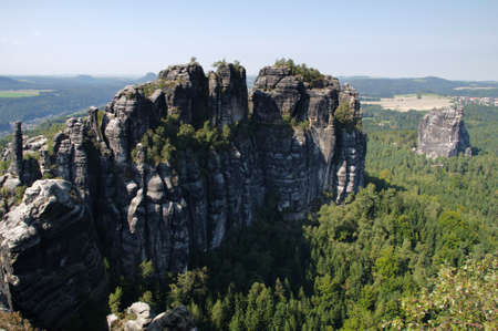 table mountain national park: View from the Schrammsteine in the Saxony Switzerland. Stock Photo