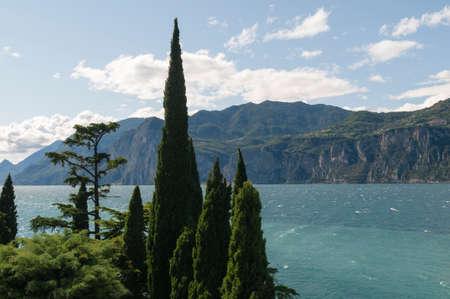 Mediterranean landscape on the lake garda in north Italy.