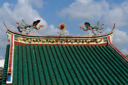 shingle: Roof ornaments of a Chinese temple in Malaysia.