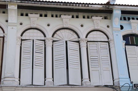 architectural heritage of the world: Facade from old chinese warehouse in the old Georgetown Penang Malaysia. Stock Photo