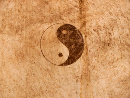 chinese philosophy: Yin and yang symbol of a asian drum.